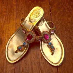 Vince Camuto gold and jeweled sandals